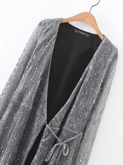 Gray Plunge Wrap Front Tie Waist Long Sleeve Mini Dress