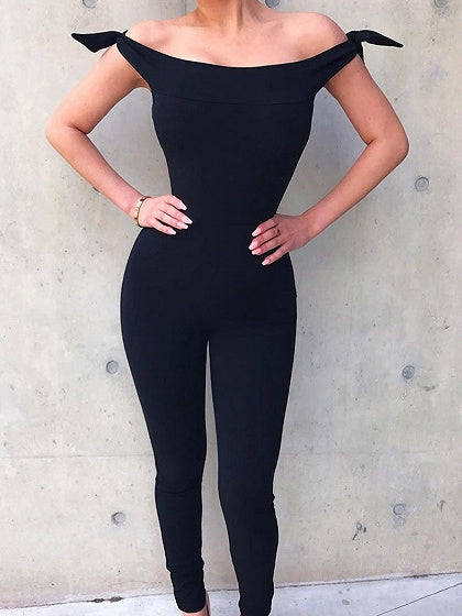 Black Off Shoulder Tie Detail Jumpsuit