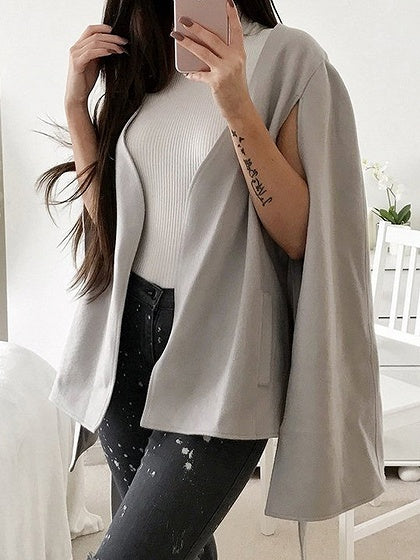 Gray Tie Waist Wool Blend Poncho Coat