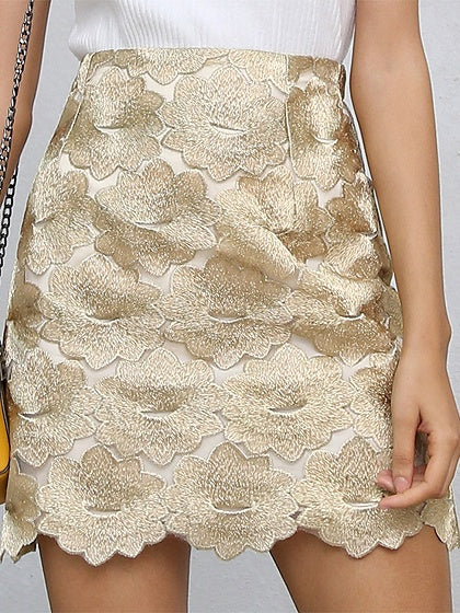 Gold High Waist Embroidery Detail Mini Skirt