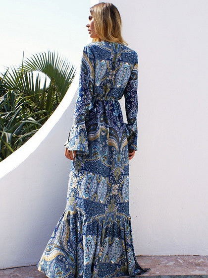 Blue Plunge Tie Waist Print Detail Thigh Split Maxi Dress