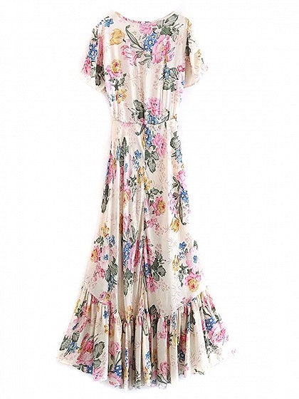 Beige Button Placket Floral Print Ruffle Trim Hi-Lo Dress