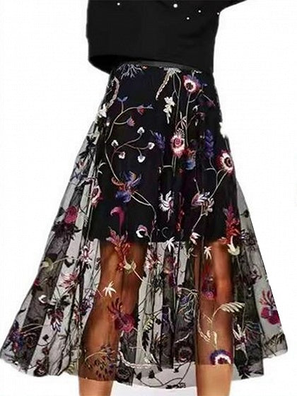 Black High Waist Embroidery Floral Mesh Skirt