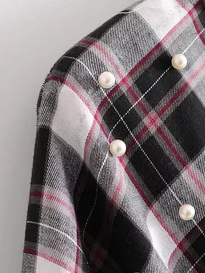 Black Plaid Wrap Front Tie Waist Beaded Detail Blouse