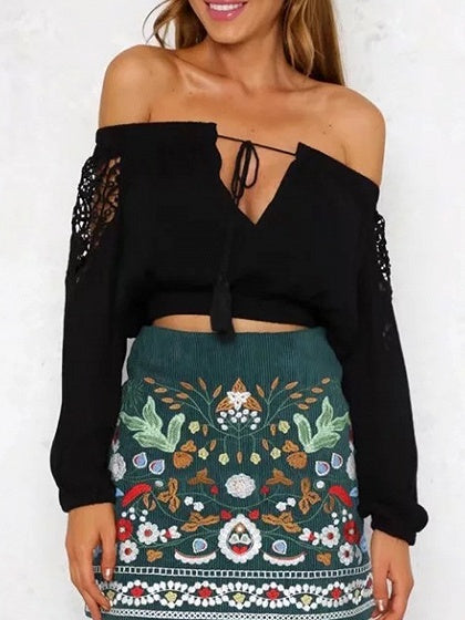 Black Off Shoulder Lace Panel Tassel Tie Long Sleeve Blouse