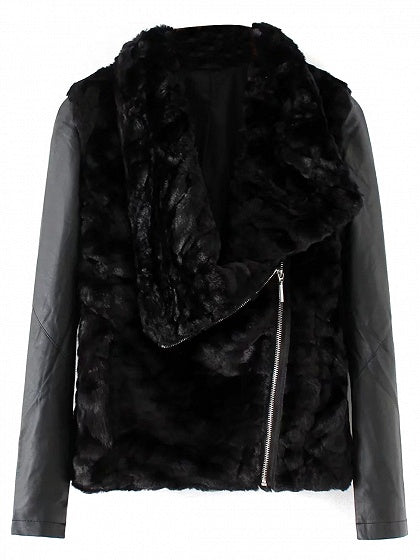 Black PU Paneled Lapel Long Sleeve Faux Fur Jacket