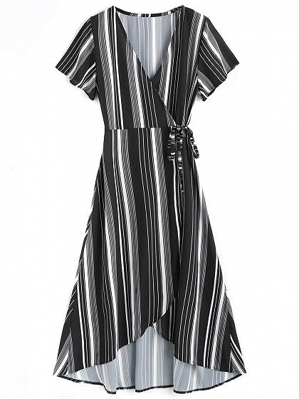 Black Stripe V-neck Tie Waist Hi-Lo Dress