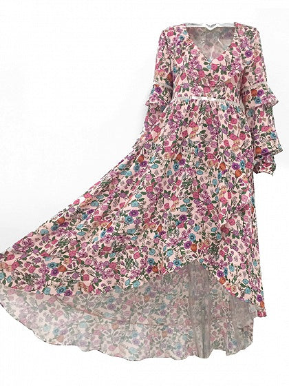 Pink Plunge Ruffle Trim Print Detail Open Back Hi-Lo Dress