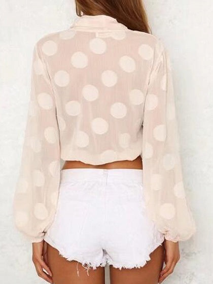 Pink V-neck Tie Front Long Sleeve Blouse