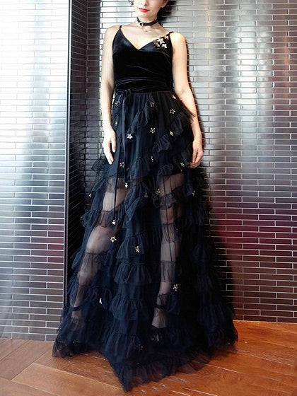 Black Velvet Star Embellished Mesh Panel Maxi Dress