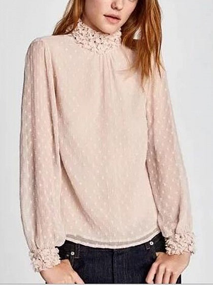Pink High Neck Long Sleeve Blouse