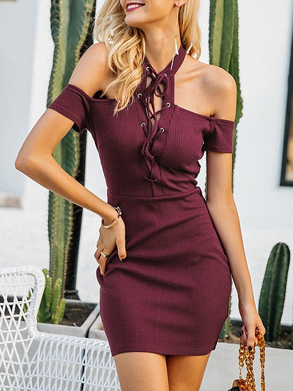 Burgundy Halter Cold Shoulder Lace Up Front Ribbed Knit Dress c20b3d7cf
