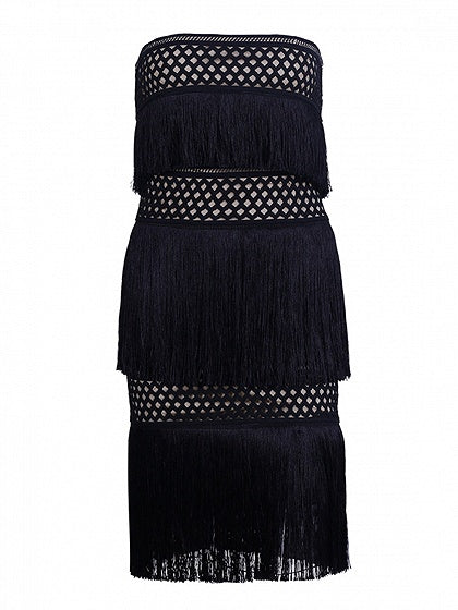 Black Bandeau Tassel Trim Mesh Mini Dress