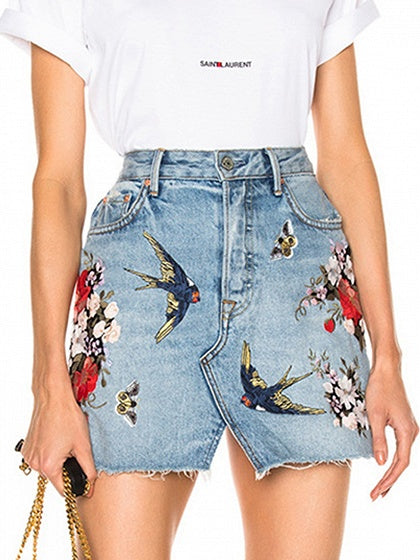 Blue High Waist Bird Embroidery Denim Mini Skirt