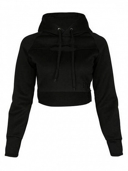 Black Drawstring Ripped Letter Embroidery Cropped Hoodie