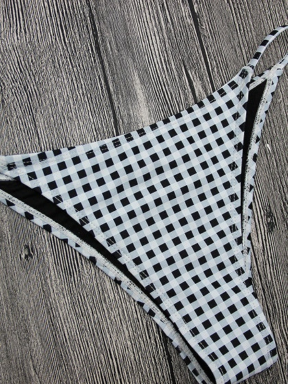 Monochrome Houndstooth Bow Front Bikini Top And Bottom