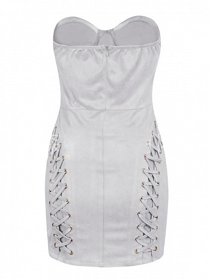 Gray Faux Suede Bandeau Lace Up Detail Mini Dress