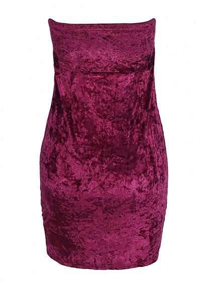 Burgundy Velvet Bandeau Mini Dress