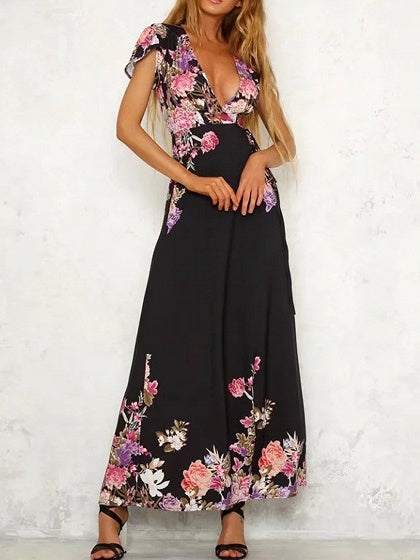 Black Plunge Print Detail Thigh Split Maxi Dress