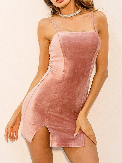 Pink Spaghetti Strap Split Detail Bodycon Mini Dress