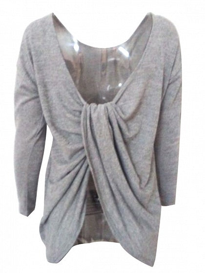 Gray Cross Back Long Sleeve T-shirt