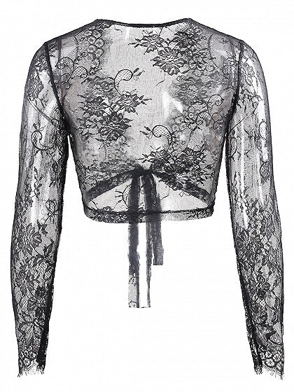 Black Tie Front Long Sleeve Lace Crop Top
