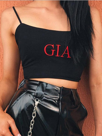 Black Spaghetti Strap Letter Embroidery Crop Tank Top