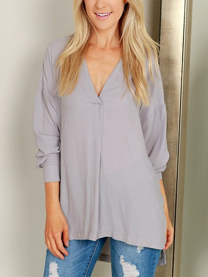 Gray V-neck Split Side Long Sleeve Blouse