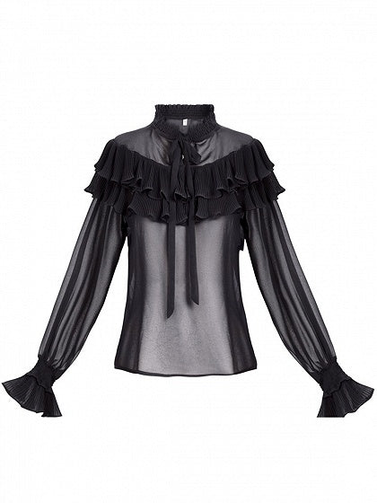 Black Ruffle Trim Tie Front Long Sleeve Blouse