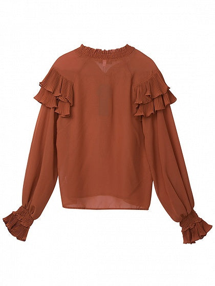Orange Ruffle Trim Tie Front Long Sleeve Blouse