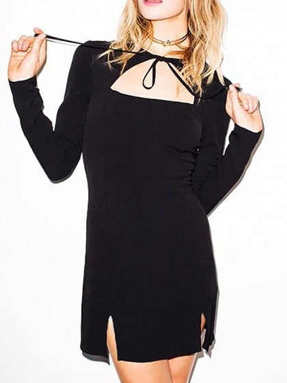 Black Tie Front Cut Out Detail Long Sleeve Mini Dress Mynystyle