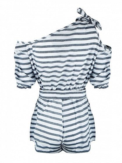 Monochrome Stripe Cold Shoulder Tie Waist Romper Playsuit