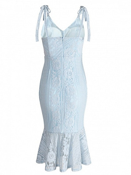 Blue Spaghetti Strap V-neck Lace Bodycon Dress