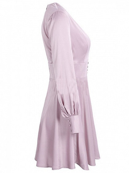 Pink Satin Look Plunge Long Sleeve Mini Dress