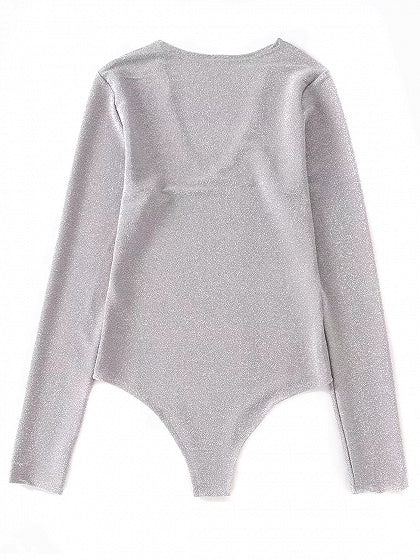Gray V-neck Long Sleeve Bodysuit