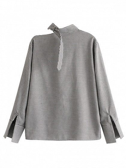 Black Houndstooth Buckle Neck Long Sleeve Blouse