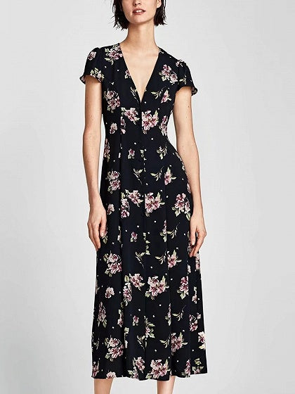 Black V-neck Floral Cap Sleeve Maxi Dress