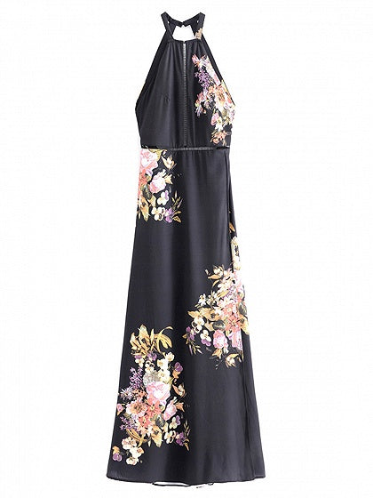 Black Halter Cut Out Detail Floral Print Open Back Maxi Dress