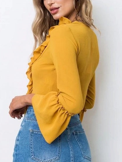 4afb332936a4c0 Yellow Lace Up Front Ruffle Trim Long Sleeve Blouse – MYNYstyle