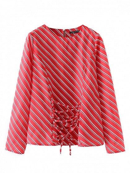 143096879d Red Stripe Lace Up Front Long Sleeve Blouse – MYNYstyle