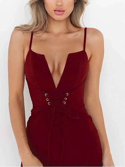 Burgundy Spaghetti Strap Plunge Lace Up Front Bodycon Dress