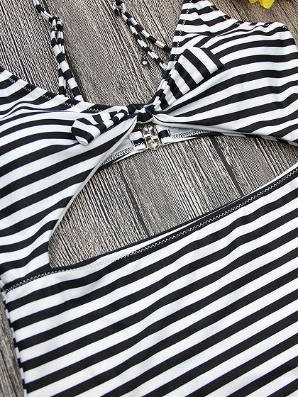 Monochrome Stripe Bow Front Cut Out Detail Swimsuit