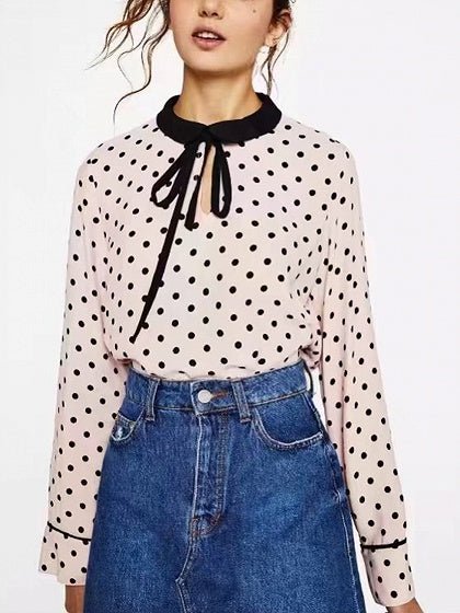Pink Tie Front Polka Dot Long Sleeve Blouse