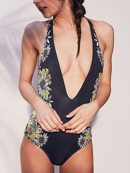 Black Plunge Floral Print Swimsuit