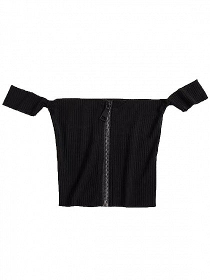 Black Off Shoulder Zip Front Crop Top