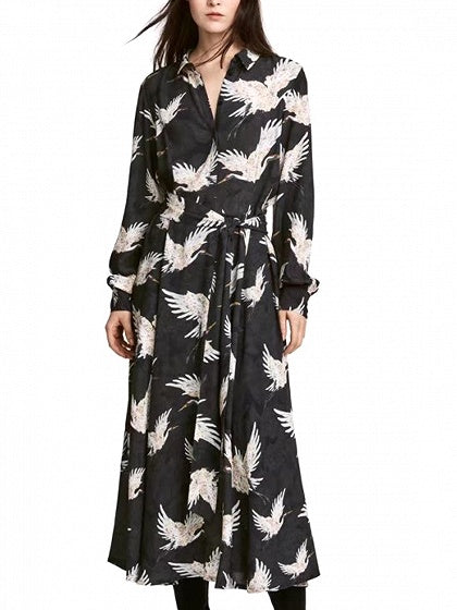 Black Crane Print Long Sleeve Dress