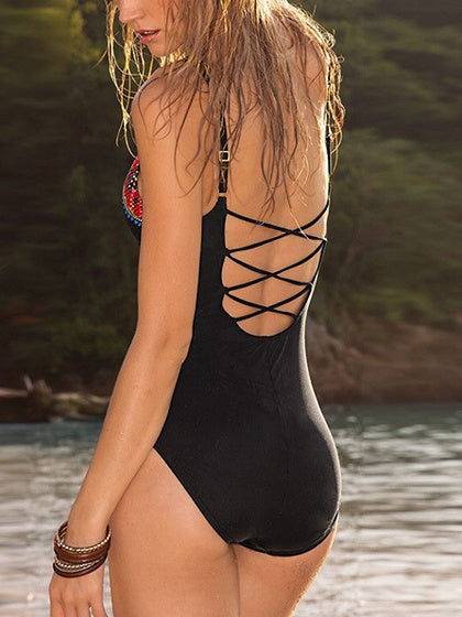 Black Print Detail Lace Up Back Swimsuit