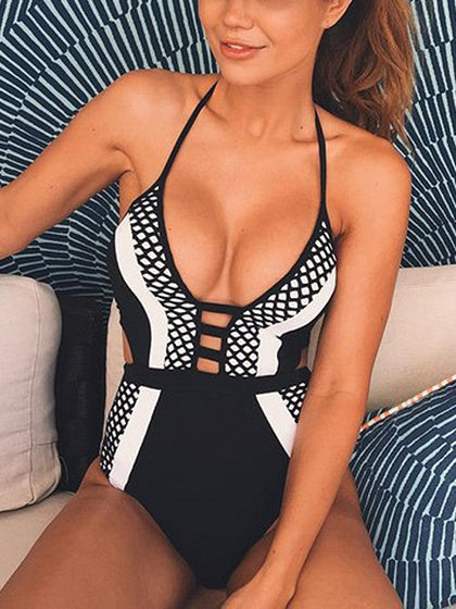 Black Contrast Halter Open Back Swimsuit