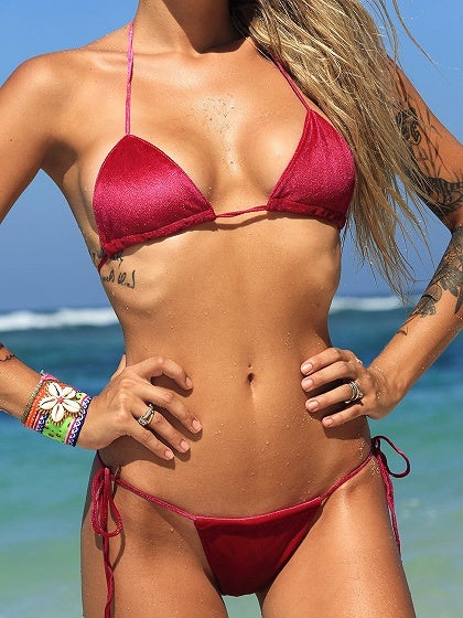 Velvet Halter Bikini Top And Bottom