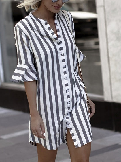 Blue Stripe Button Placket Longline Shirt